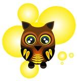 逗人喜爱的猫头鹰, sybmol和唱歌-导航例证 免版税库存照片