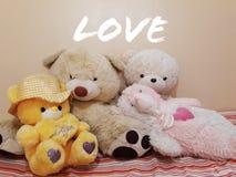 逗人喜爱的玩具熊为礼物&情人节 免版税库存图片