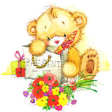 逗人喜爱的玩具熊和玩具兔宝宝例证 图库摄影