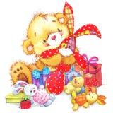 逗人喜爱的玩具熊和玩具兔宝宝例证 免版税库存图片