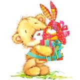 逗人喜爱的玩具熊和玩具兔宝宝例证 免版税图库摄影