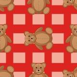 逗人喜爱的玩具熊无缝的样式传染媒介例证 免版税库存图片