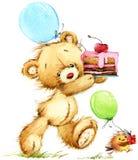 逗人喜爱的玩具熊水彩例证 皇族释放例证