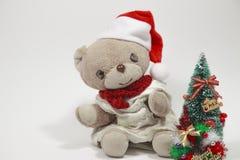 逗人喜爱的玩具熊的圣诞快乐 免版税库存照片
