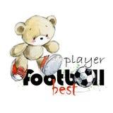 逗人喜爱的玩具熊足球运动员手拉的水彩例证 最佳的足球运动员 皇族释放例证