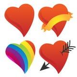 逗人喜爱的甜心,丘比特心脏,华伦泰心脏,彩虹心脏传染媒介小组 免版税图库摄影