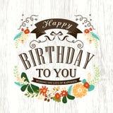 逗人喜爱的生日快乐卡片设计 免版税库存照片