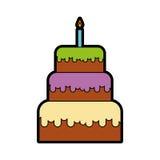逗人喜爱的生日蛋糕动画片 向量例证