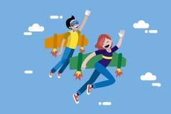 逗人喜爱的男孩和女孩飞行 向量例证