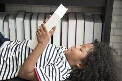 逗人喜爱的男孩在家庭书库说谎下来读书在椅子 免版税图库摄影