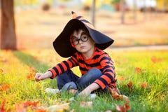 逗人喜爱的男孩在有万圣夜服装、帽子和玻璃的公园 库存图片