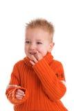 逗人喜爱的男孩害羞的矮小 免版税库存照片