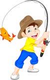 逗人喜爱的男孩渔动画片 免版税库存照片