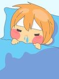 逗人喜爱的男孩热病睡眠在床上 向量例证