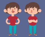 逗人喜爱的男孩用不同的姿势 向量例证