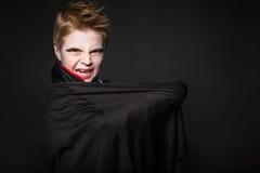逗人喜爱的男孩装饰了作为万圣夜党的吸血鬼 库存图片