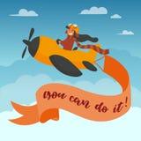 逗人喜爱的男孩飞行员在天空的一架黄色飞机上飞行 空气冒险 被隔绝的动画片传染媒介例证 免版税图库摄影