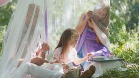逗人喜爱的白肤金发的小女孩画象有家庭的在公园 库存图片