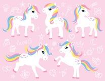 逗人喜爱的白色小马或马传染媒介集合 免版税库存图片