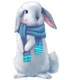 逗人喜爱的白色野兔 向量例证