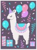 逗人喜爱的白色骆马或羊魄与党帽子、礼物盒、气球和五彩纸屑生日贺卡 库存例证