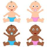 逗人喜爱的白&黑人婴孩新生儿 皇族释放例证