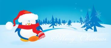 逗人喜爱的看的圣诞节企鹅 库存图片