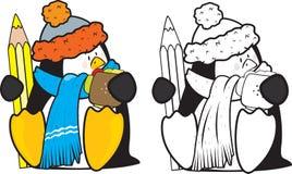 逗人喜爱的看的学校企鹅 免版税库存图片