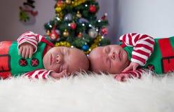逗人喜爱的睡觉圣诞节新出生的兄弟矮子 库存照片