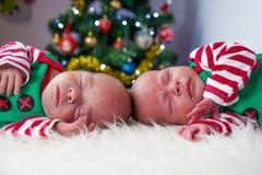 逗人喜爱的睡觉圣诞节新出生的兄弟矮子 免版税图库摄影