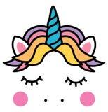 逗人喜爱的睡觉独角兽顶头五颜六色的彩虹