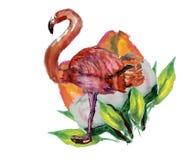 逗人喜爱的矮小的公主与桃红色火鸟例证的Abstract Background 向量例证