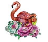 逗人喜爱的矮小的公主与桃红色火鸟例证的Abstract Background 图库摄影