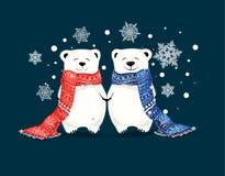 逗人喜爱的矮小的北极熊夫妇与雪花的 圣诞节和新年conceptred围巾和 皇族释放例证