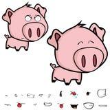 逗人喜爱的矮小的大顶头猪动画片表示集合 免版税图库摄影