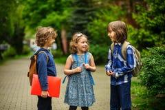 逗人喜爱的矮小的学校学生在校园轻快地谈话 免版税库存照片