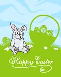 逗人喜爱的矮小的灰色复活节兔子 免版税库存照片