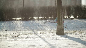 逗人喜爱的矮小的婴孩在树后掩藏 快乐的女孩演奏户外享受冷的晴朗的冬天早晨 影视素材