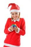 逗人喜爱的礼品喜悦微小的圣诞老人 图库摄影