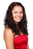 逗人喜爱的礼服红色妇女年轻人 免版税库存照片