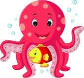 逗人喜爱的章鱼动画片 库存例证