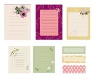 逗人喜爱的笔记,记录卡片元素 免版税图库摄影