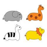 逗人喜爱的简单的动画片徒步旅行队动物 免版税库存图片