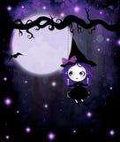 逗人喜爱的紫罗兰色巫婆 库存照片