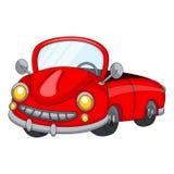 逗人喜爱的红色汽车动画片 库存照片