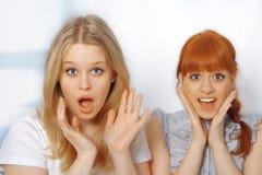 逗人喜爱的纵向新惊奇的妇女 免版税库存照片