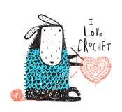 逗人喜爱的绵羊在温暖的毛线衣钩编编织物的心脏 库存图片