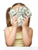 逗人喜爱的美元女孩一点 免版税库存图片
