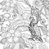 逗人喜爱的美冠鹦鹉着色页 免版税库存图片