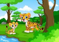 逗人喜爱的老虎动画片在森林里 免版税图库摄影